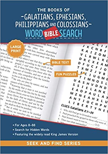 The cover of The Books of Galatians, Ephesians, Philippians, and Colossians: Bible Word Search (Seek and Find) - Large Print Edition