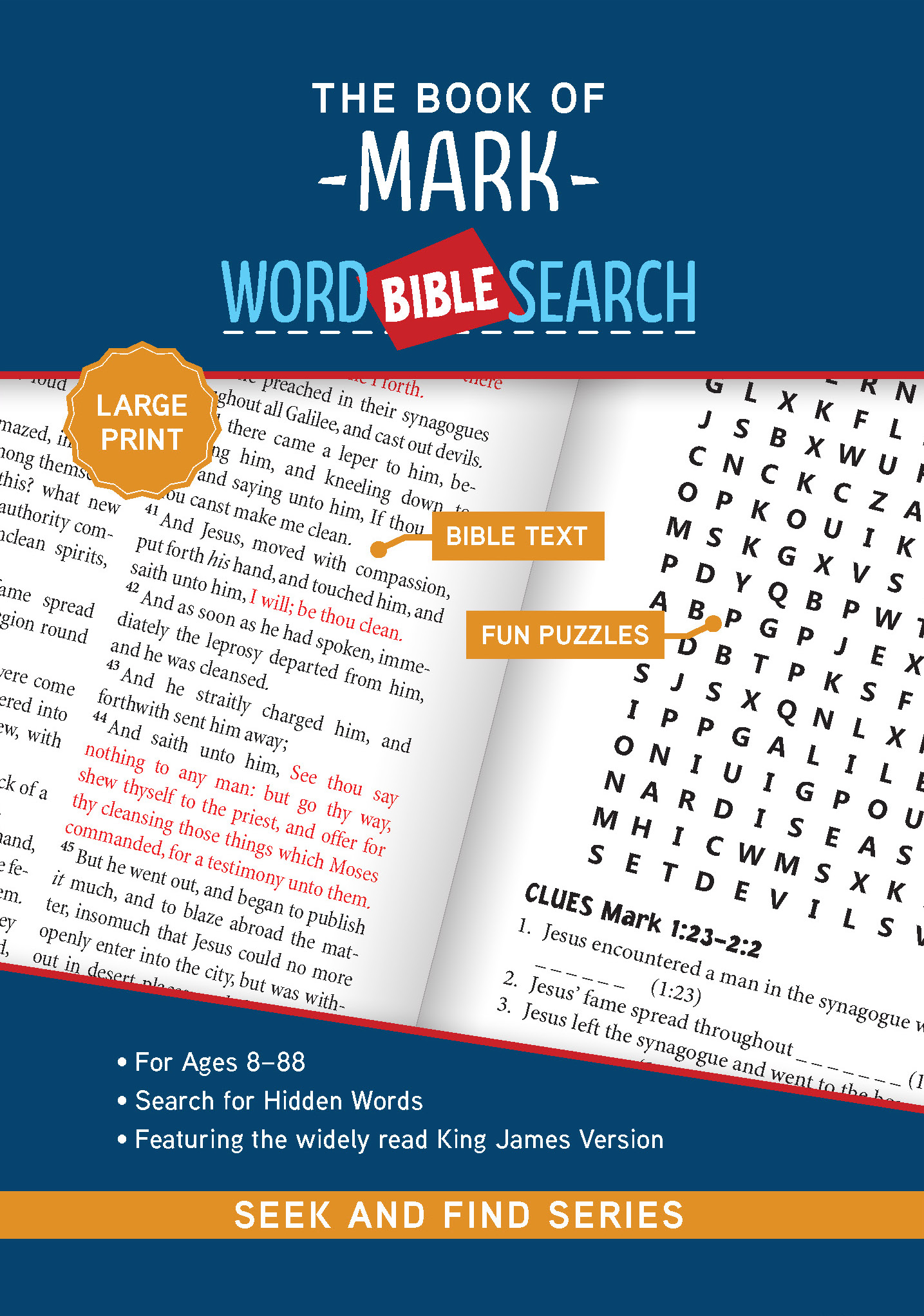 The cover of The Book of Mark: Bible Word Search (Seek and Find) - Large Print