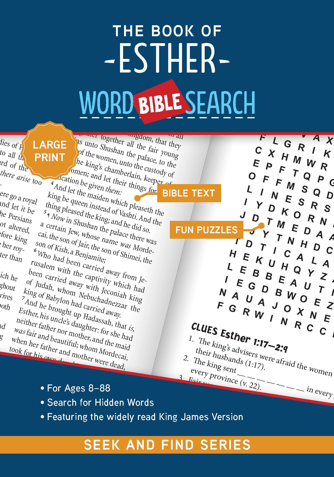 Cover for The Book of Esther: Bible Word Search (Seek and Find) - Large Print Edition
