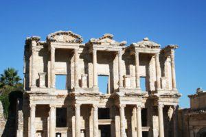 Ancient columns against a blue sky.